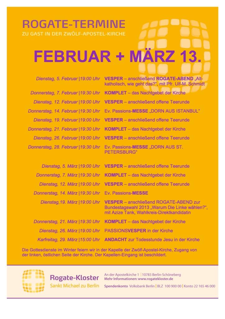 Rogatetermine Februar 13