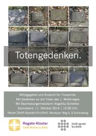 Gedenken an die Toten des 1. Weltkrieges.