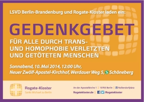 Gedenkgebet für alle durch Trans- und Homophobie getöteten und verletzten Menschen