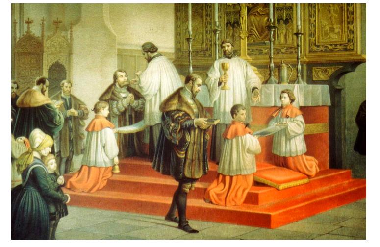 """""""Herzog Albrecht von Preußen empfängt in der Domkirche zu Königsberg  zum ersten Mal das Abendmahl nach protestantischem Ritus""""  Aquarell von Karl Ludwig Julius Rosenfelder (1817 – 1881)"""