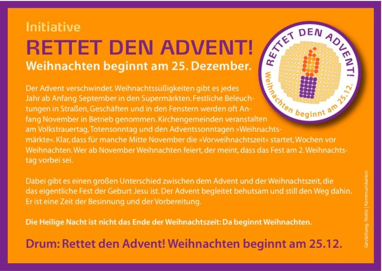 Rettet den Advent vom Rogate-Kloster