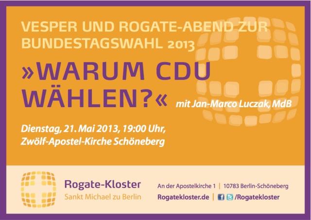 Einladung zum Rogate-Abend: Warum CDU wählen?